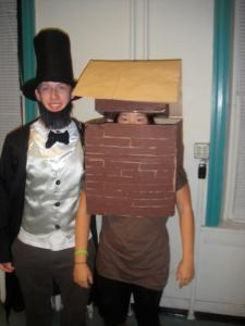 2011- I was a log cabin to my friend Mo's Abraham Lincoln. This might actually be my favorite costume. The shoebox-roof hat was especially tricky.