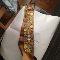 I hot glued the badges onto a beauty pageant sash I found at the party store.